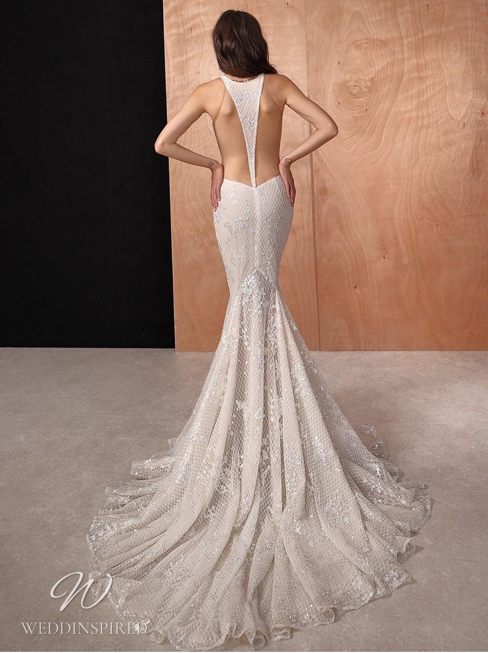 A Galia Lahav 2022 sparkly strapless mermaid wedding dress with an open back