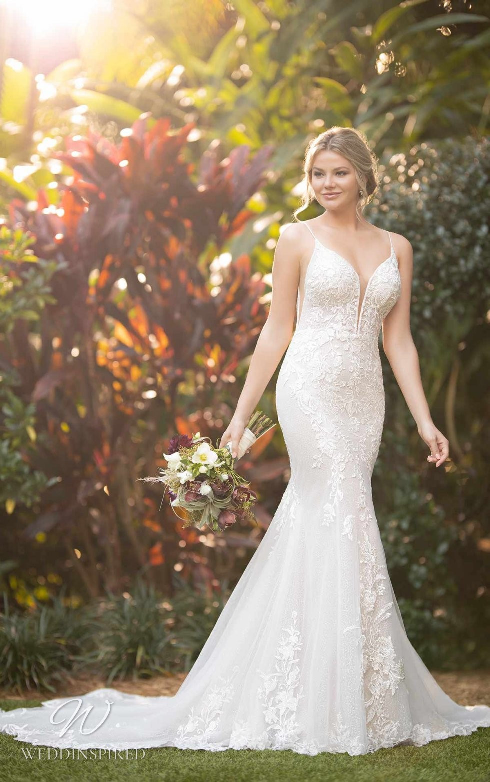 An Essense of Australia lace and mesh mermaid wedding dress with a train