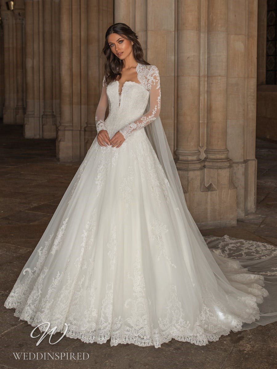 A Pronovias 2021 lace princess ball gown wedding dress with long sleeves