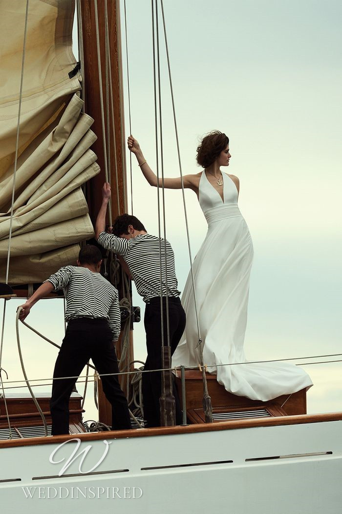 A Justin Alexander 2021 simple halterneck satin sheath wedding dress