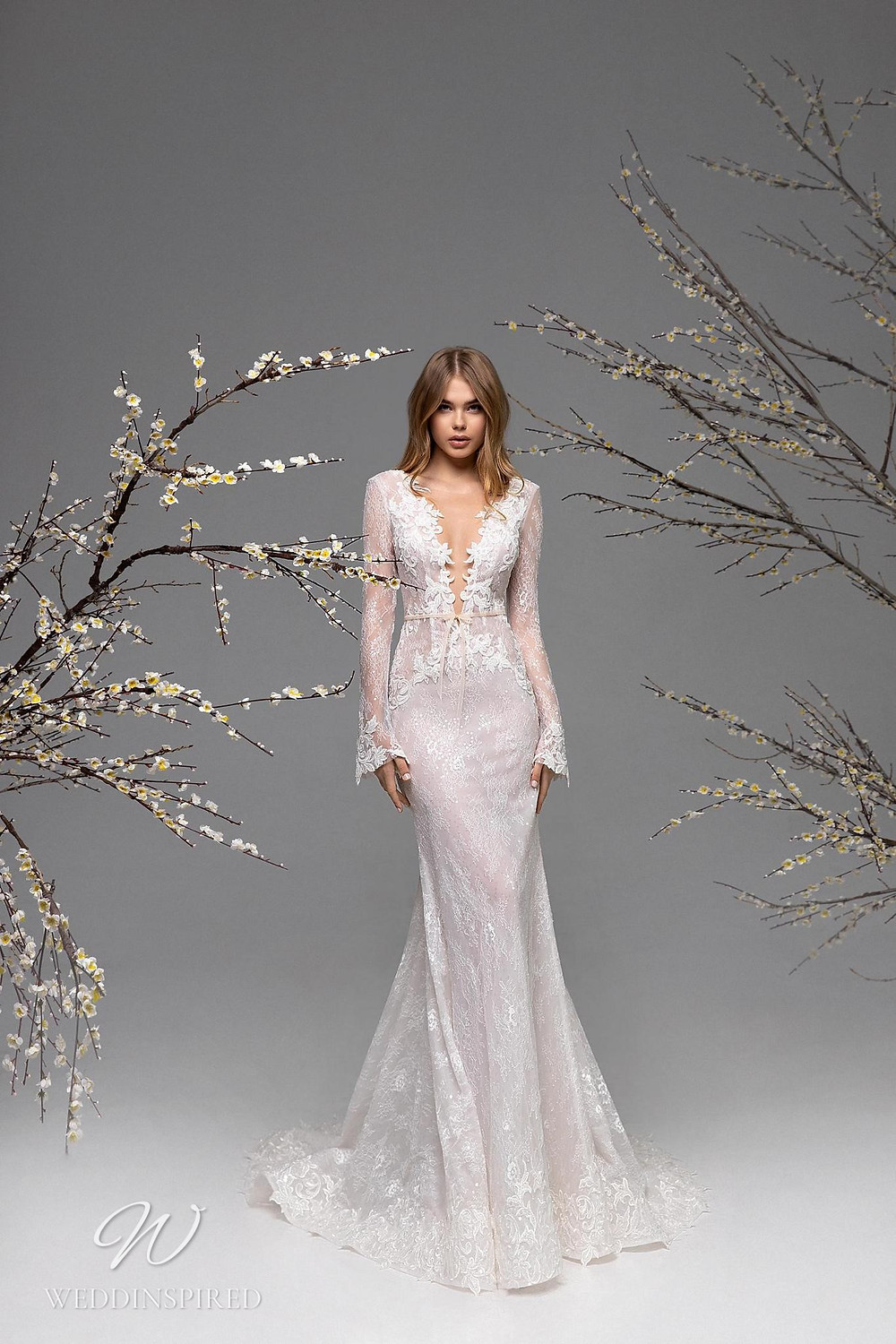 A Ricca Sposa lace mermaid wedding dress with long sleeves