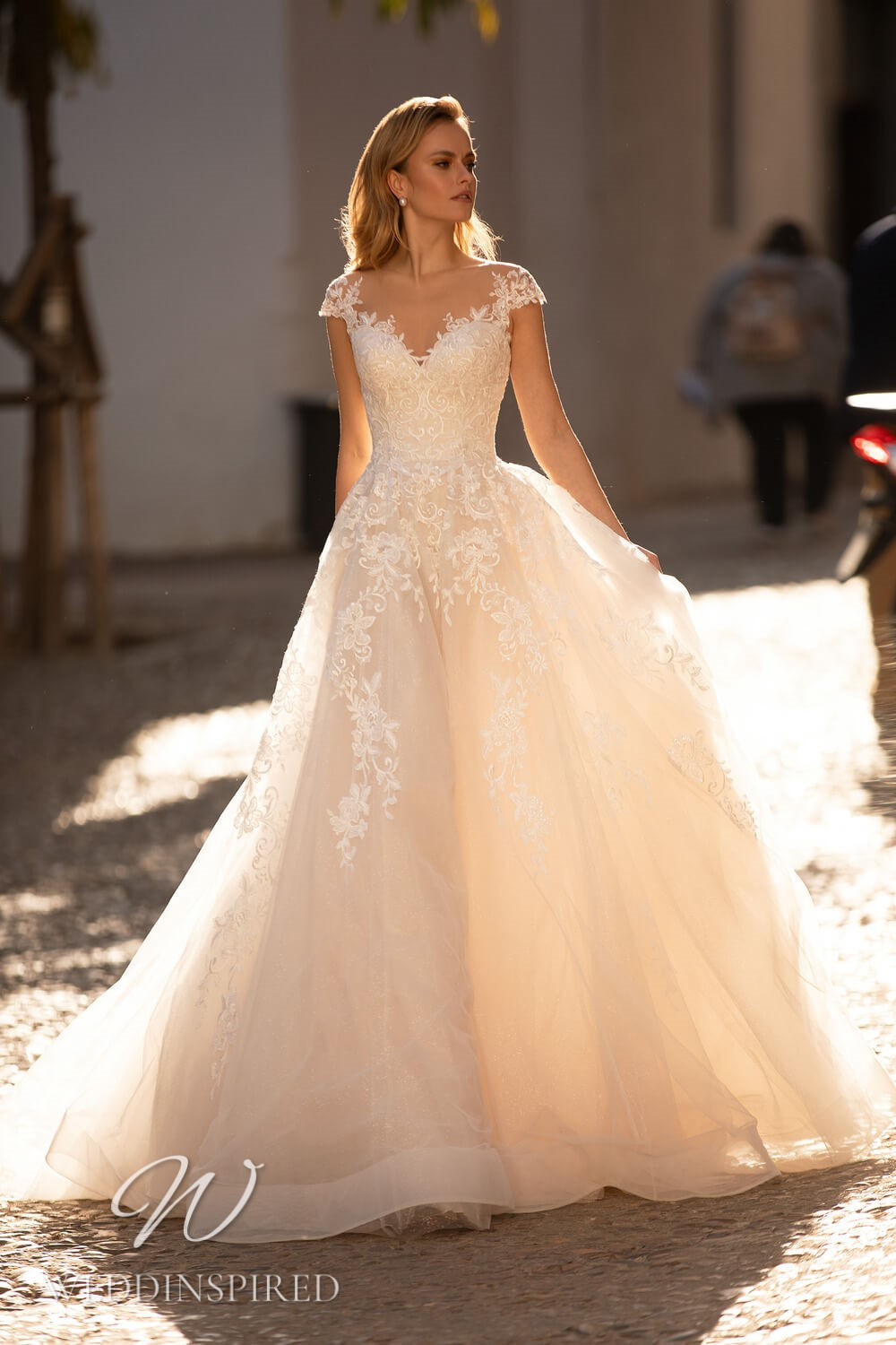 An Essential by Lussano 2021 blush lace and tulle princess wedding dress