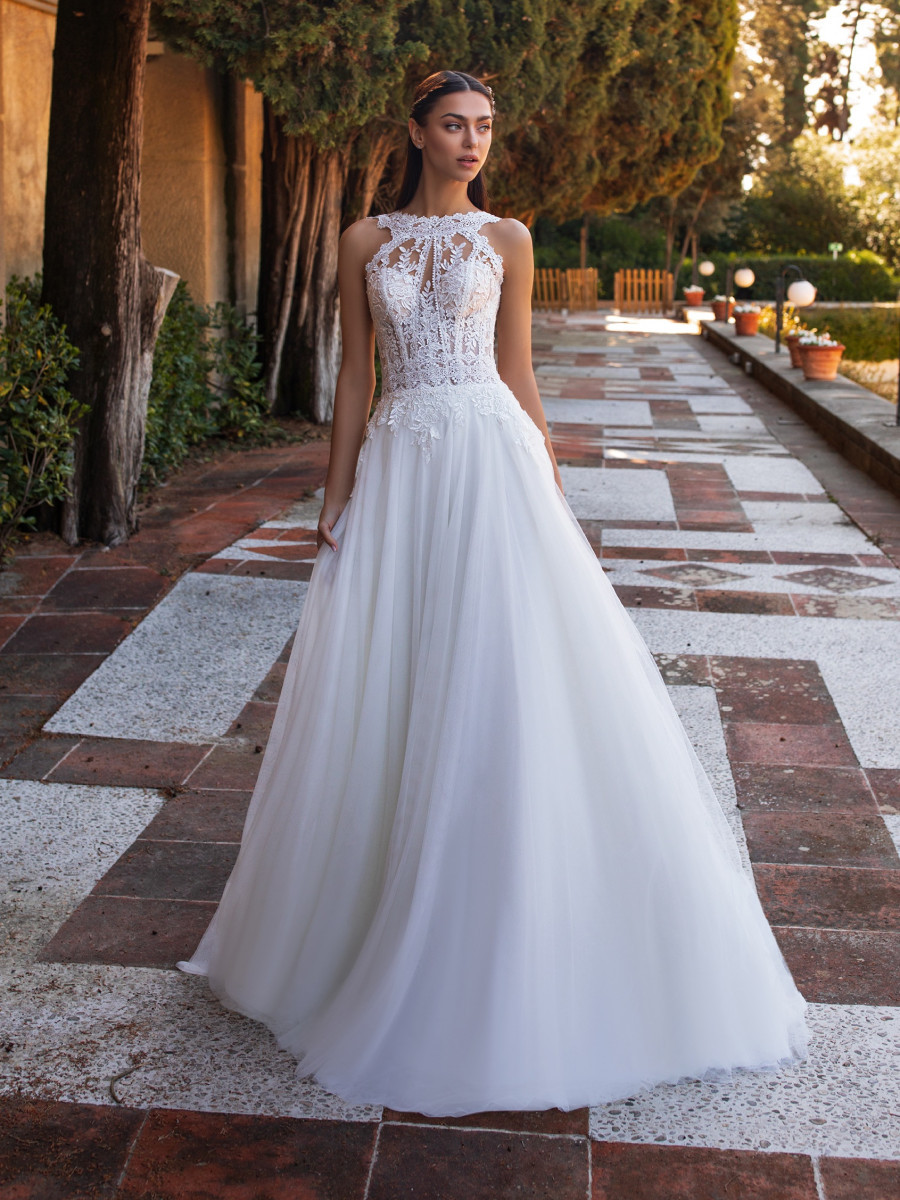 A Pronovias halterneck lace and tulle A-line wedding dress