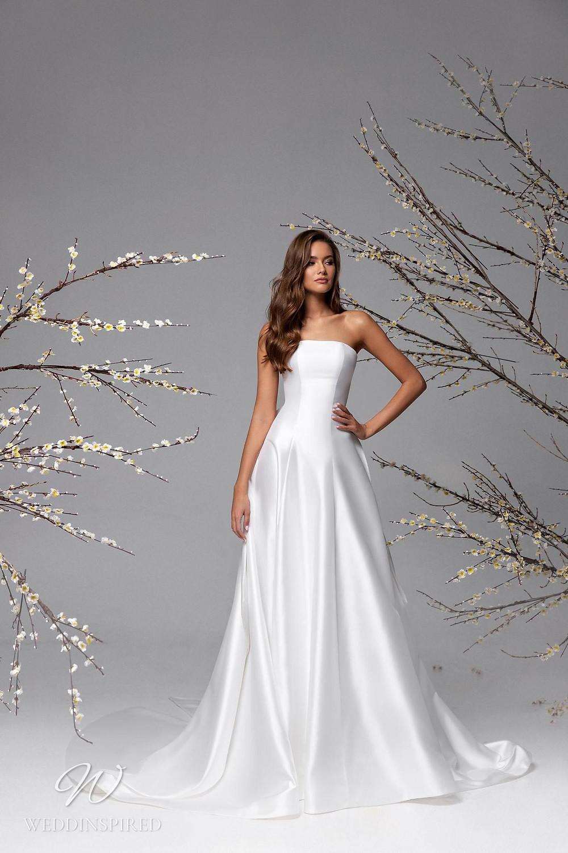 A Ricca Sposa simple strapless silk satin A-line wedding dress