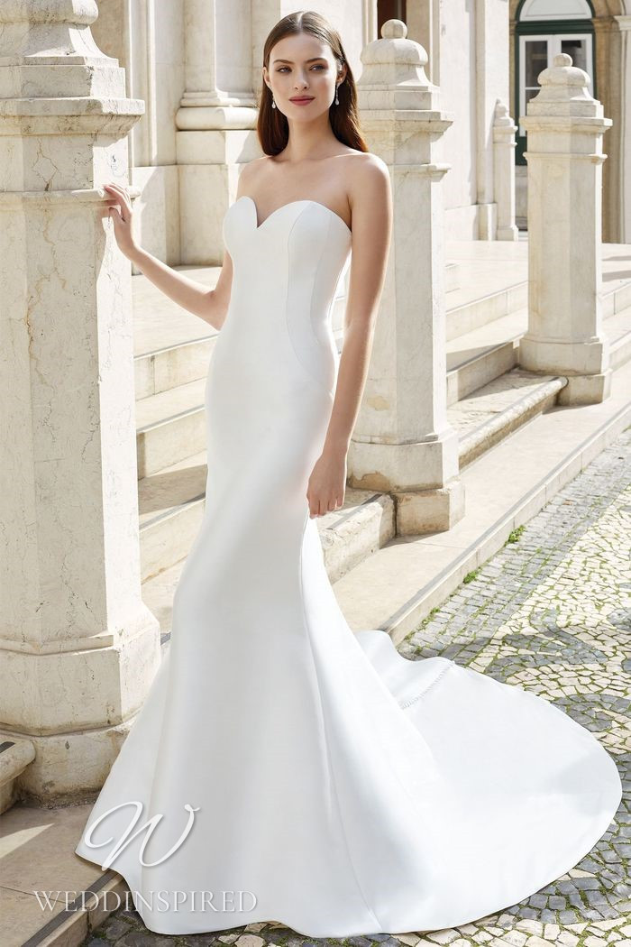 A Justin Alexander 2021 strapless satin mermaid wedding dress
