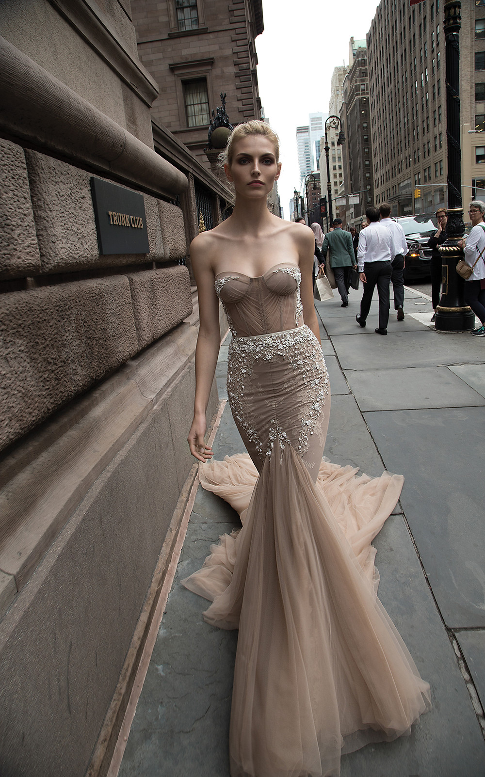 An Inbal Dror dark tan mermaid wedding dress, with sweetheart neckline, tulle skirt and beading