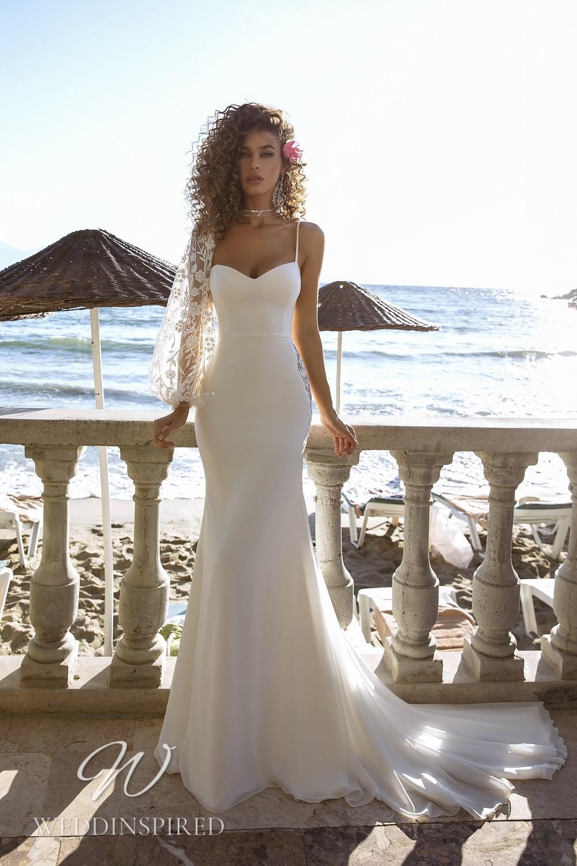 A Tina Valerdi simple satin mermaid wedding dress