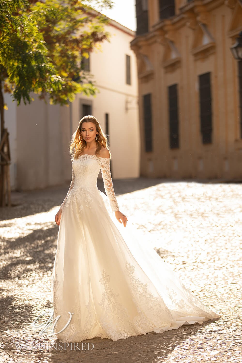 An Essential by Lussano 2021 lace off the shoulder A-line wedding dress with long sleeves