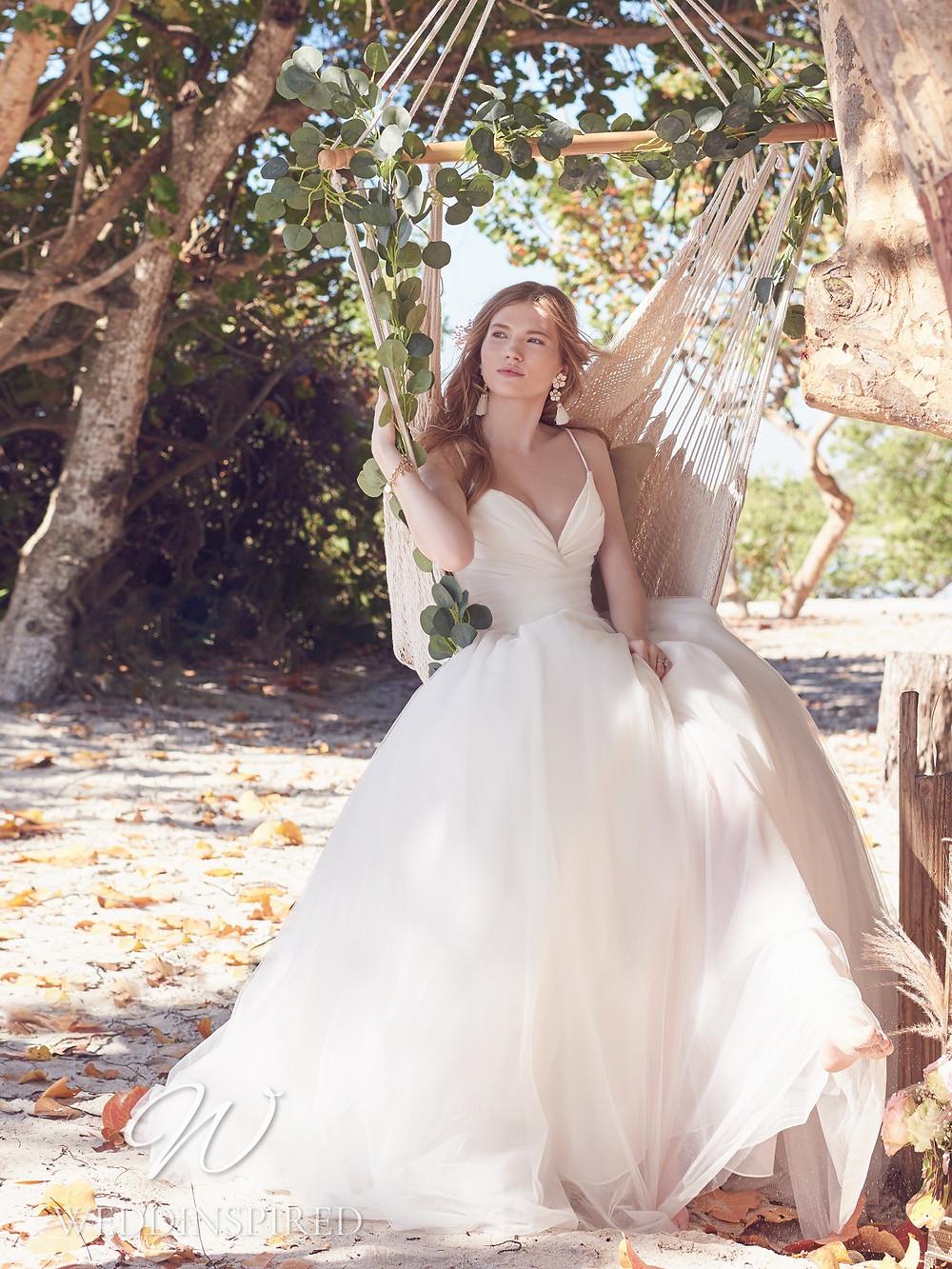 A Rebecca Ingram 2021 boho satin and chiffon A-line wedding dress