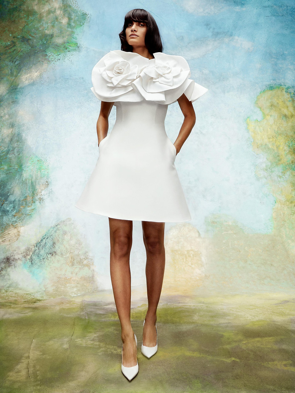 A Viktor & Rolf short crepe wedding dress with large flowers