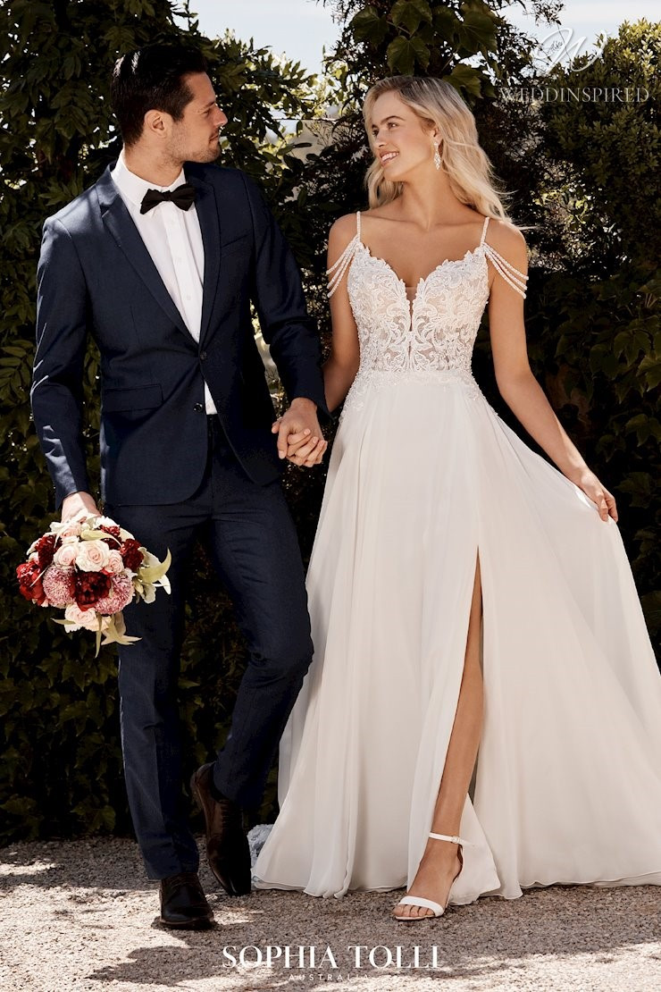 A Sophia Tolli off the shoulder lace and chiffon A-line wedding dress