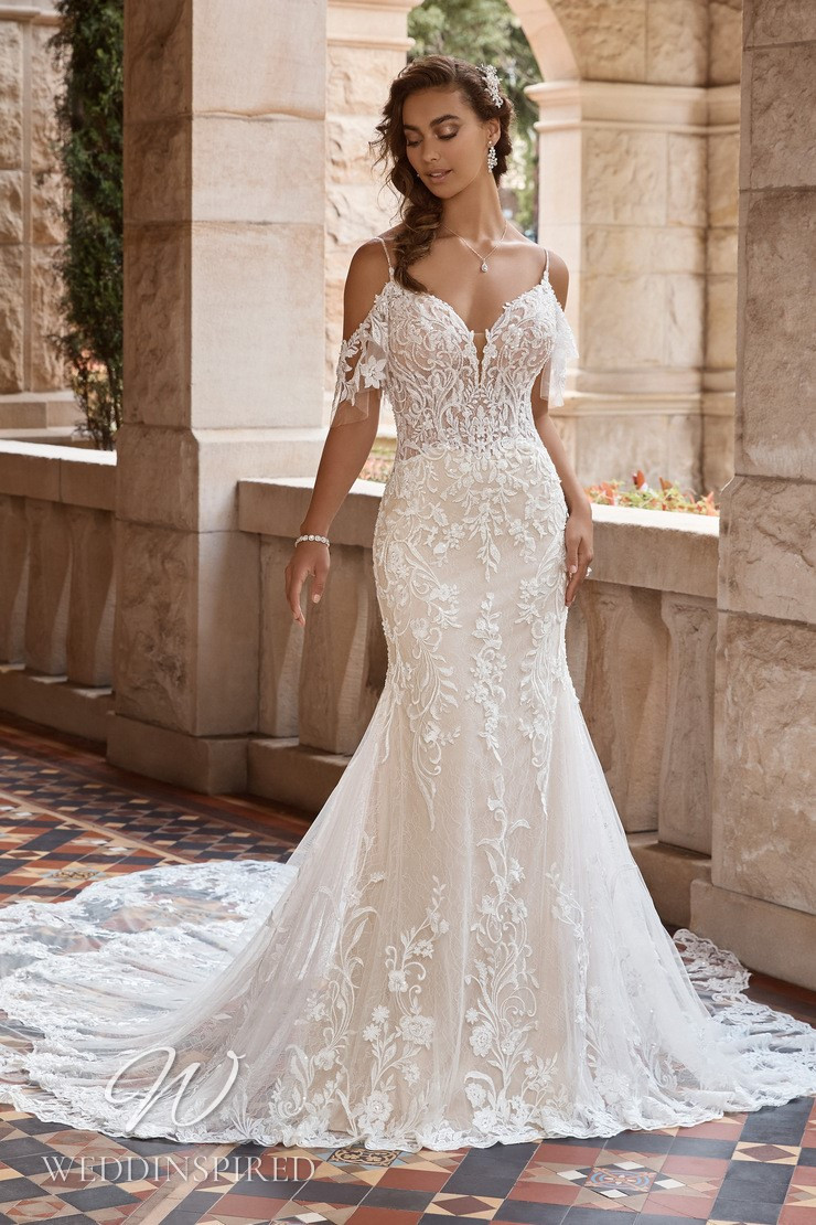 A Sophia Tolli 2021 lace mermaid wedding dress