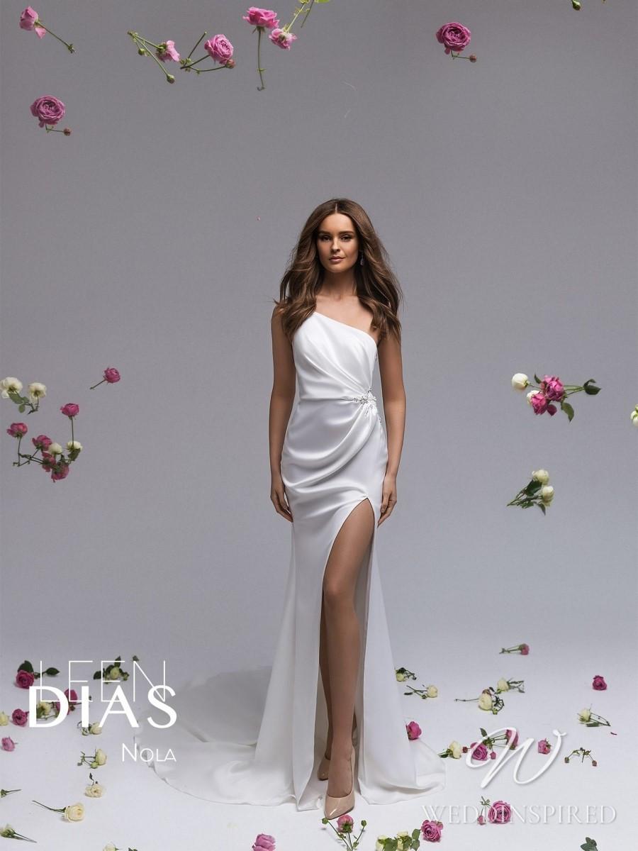 A Leen Dias 2021 one shoulder simple satin sheath wedding dress