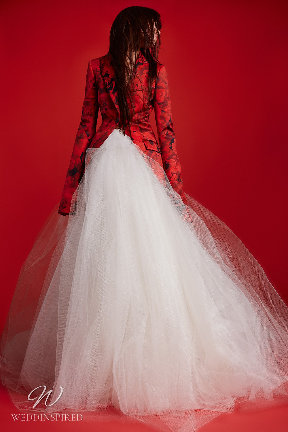 A Vera Wang Fall 2021 white tulle and red floral blazer A-line wedding dress
