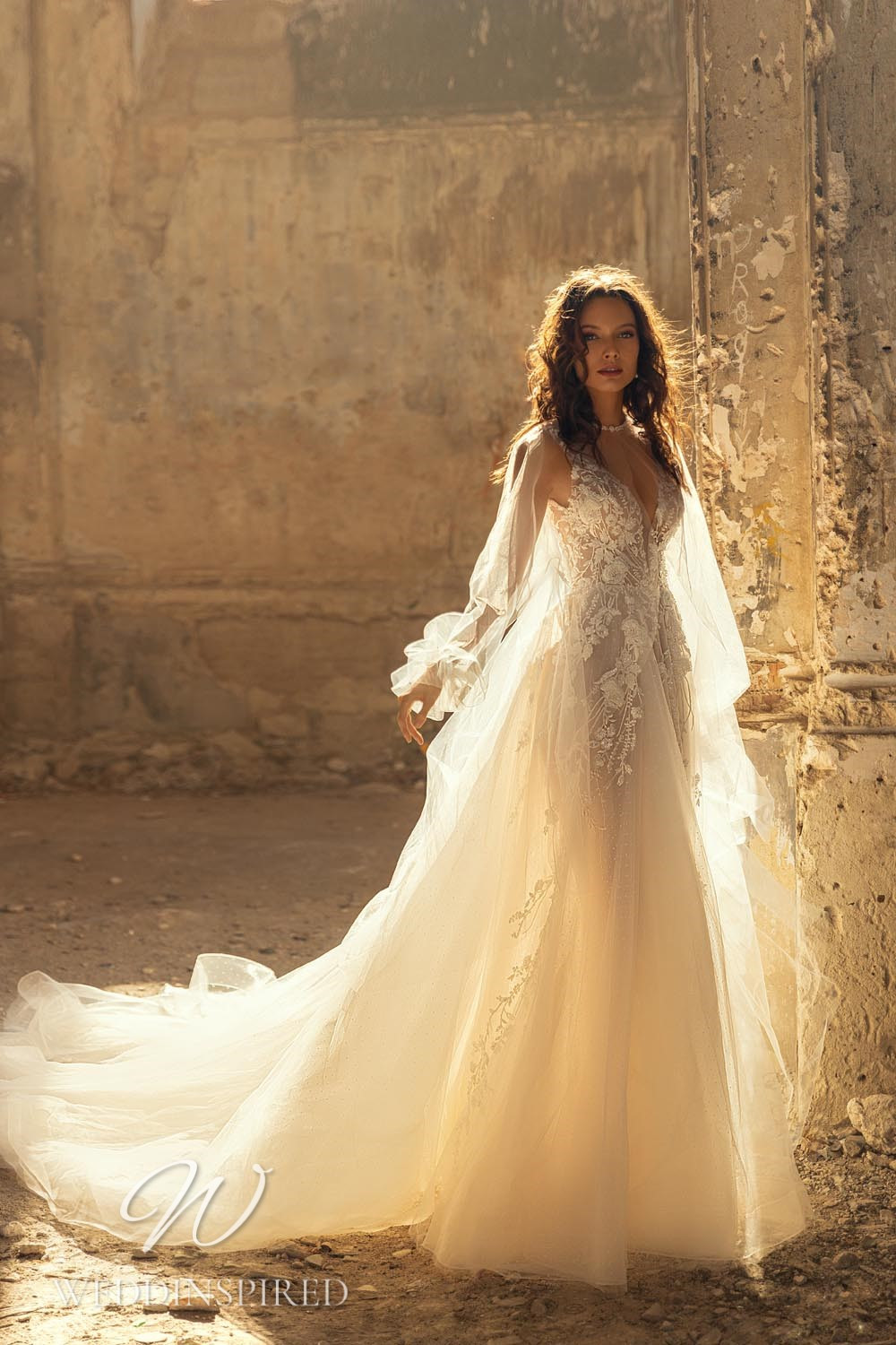 An Eva Lendel 2021 lace and tulle A-line wedding dress