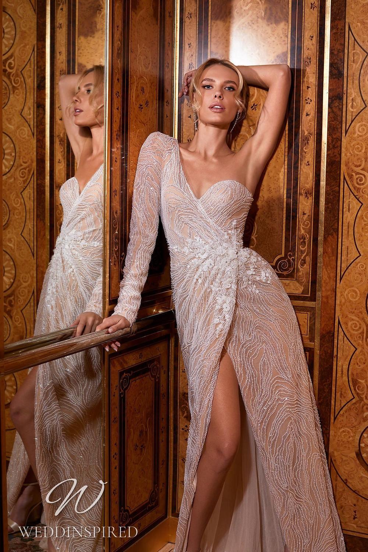 A Pollardi 2021 blush one shoulder mermaid wedding dress