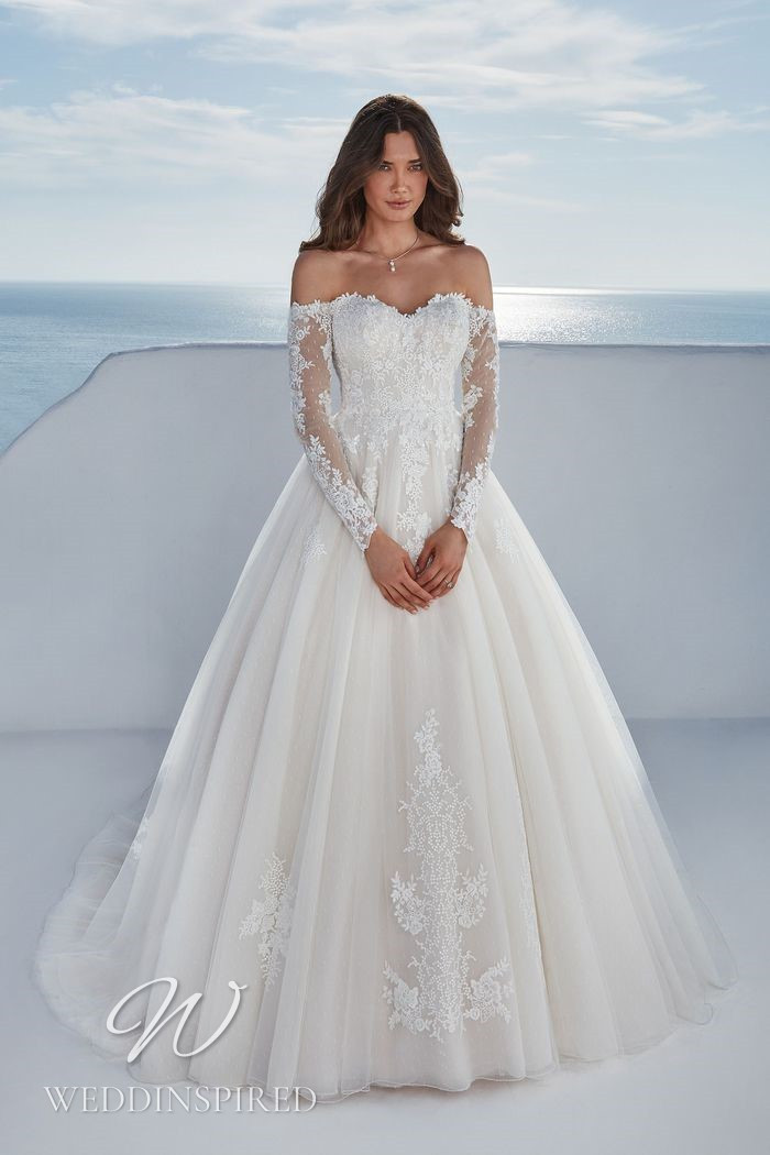 A Justin Alexander 2021 lace and tulle off the shoulder A-line wedding dress