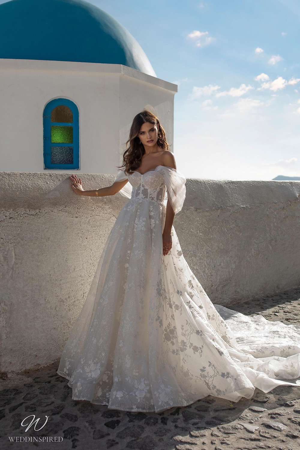 A Ricca Sposa off the shoulder lace and tulle romantic ball gown wedding dress
