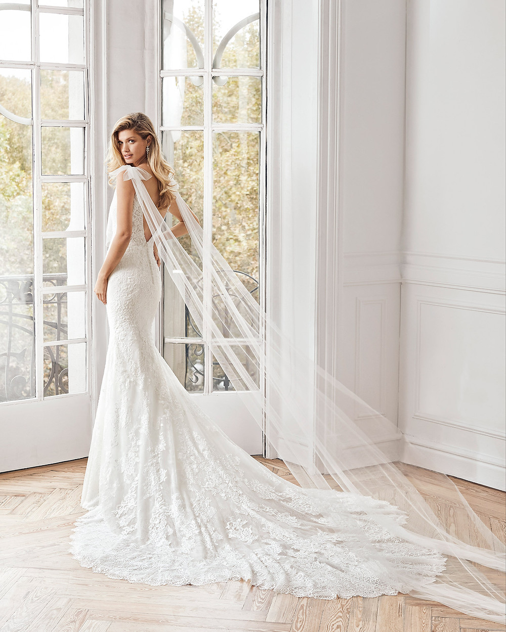 An Aire Barcelona 2020 lace mermaid fit and flare wedding dress with a train and a low back