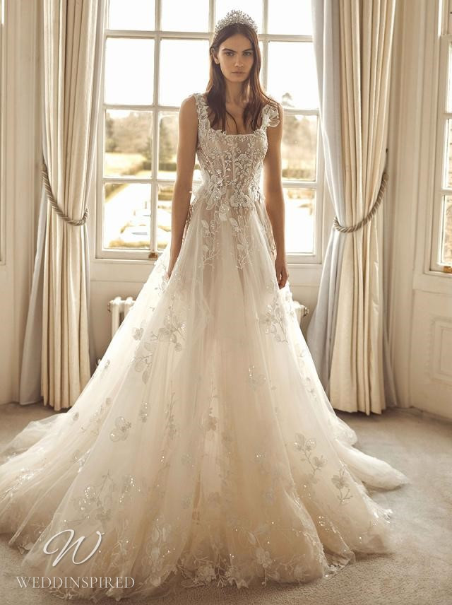 A Galia Lahav 2021 ivory lace and tulle A-line wedding dress with straps