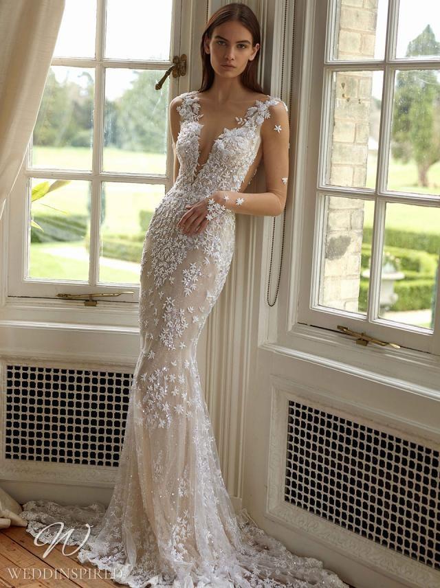 A Galia Lahav 2021 ivory and nude lace mermaid wedding dress with long illusion sleeves