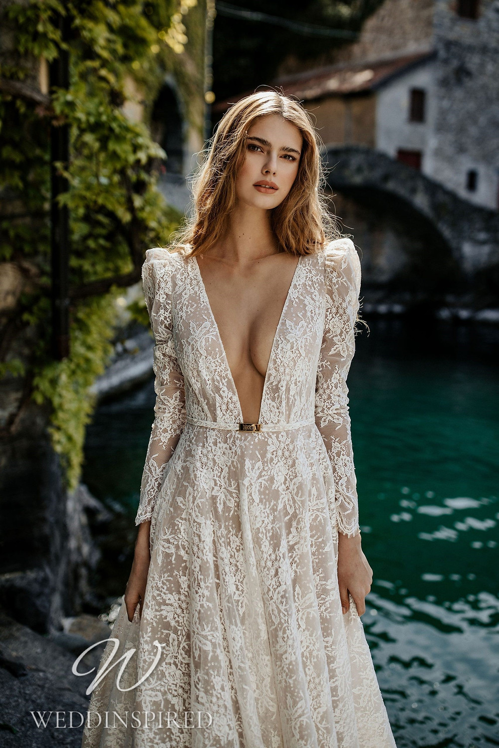 A Berta 2022 lace A-line wedding dress with long sleeves