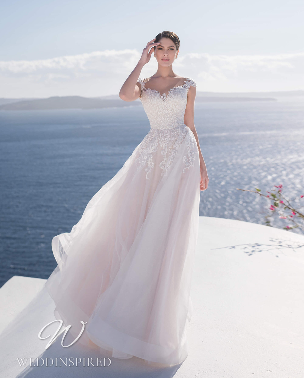 A Blunny 2021 flowy lace and tulle A-line wedding dress