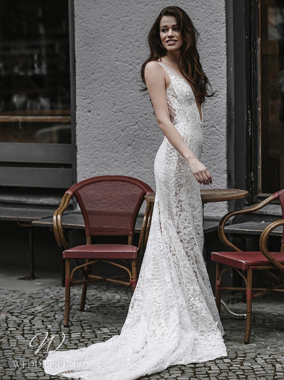 A Galia Lahav 2022 lace mermaid wedding dress with a v neck