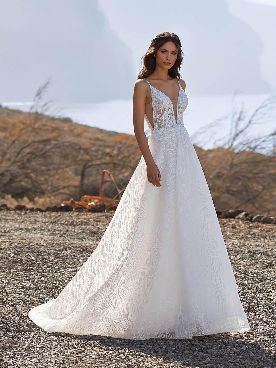 A Pronovias 2021 strappy lace ball gown wedding dress with a v neckline