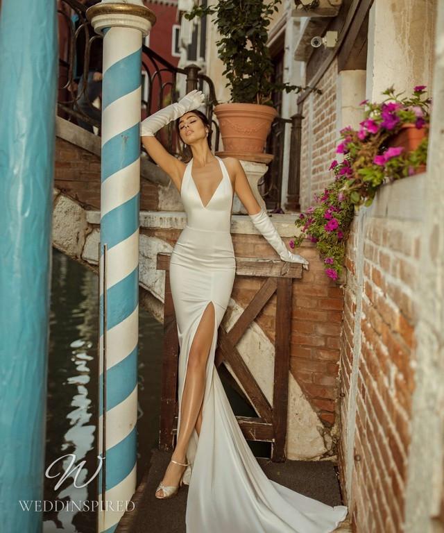 A Rara Avis 2021 sexy old Hollywood glamor silk halterneck fitted wedding dress with a high slit