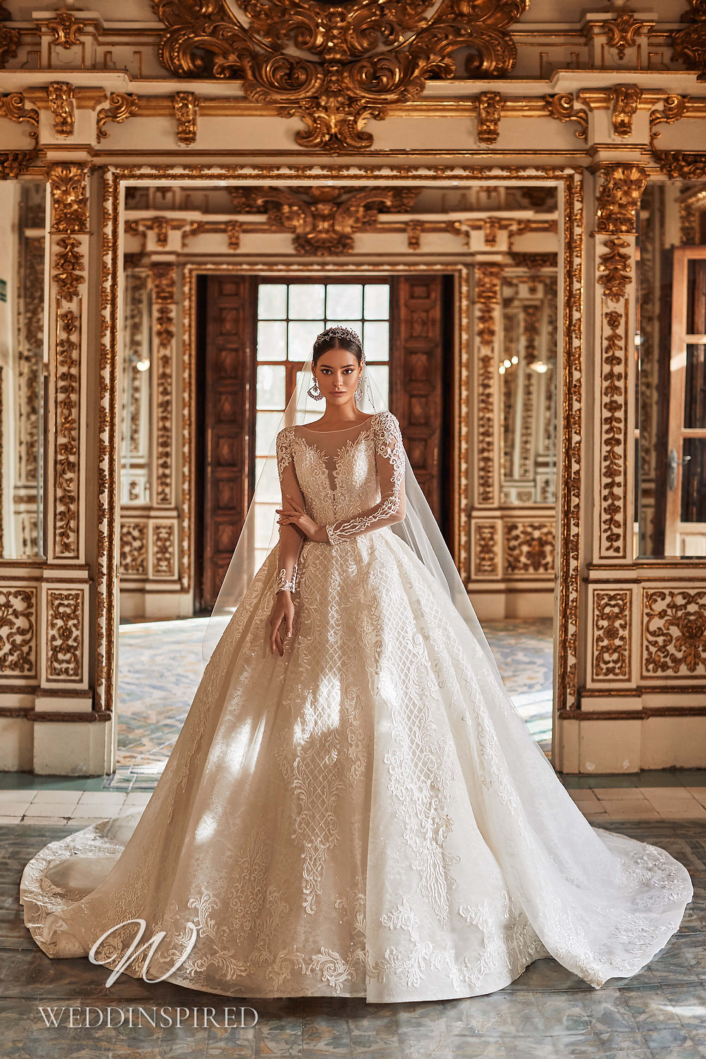 A Royal by Naviblue 2021 champagne lace and tulle princess wedding dress with long sleeves