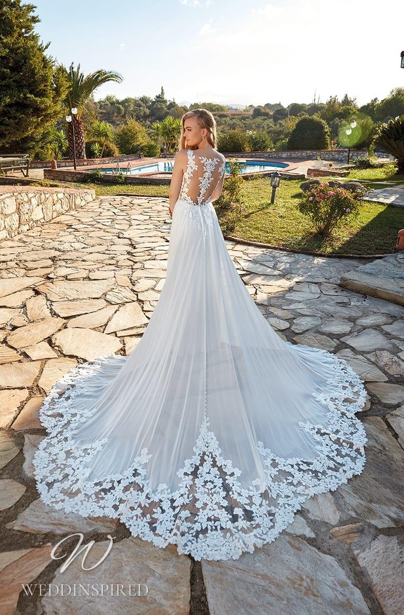 An Eddy K 2022 lace and chiffon A-line wedding dress
