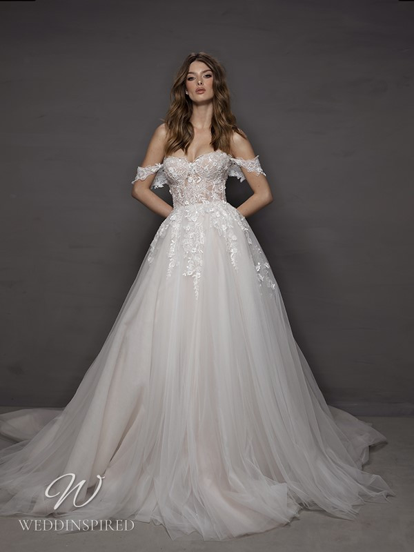 A Riki Dalal 2021 off the shoulder lace and tulle princess wedding dress