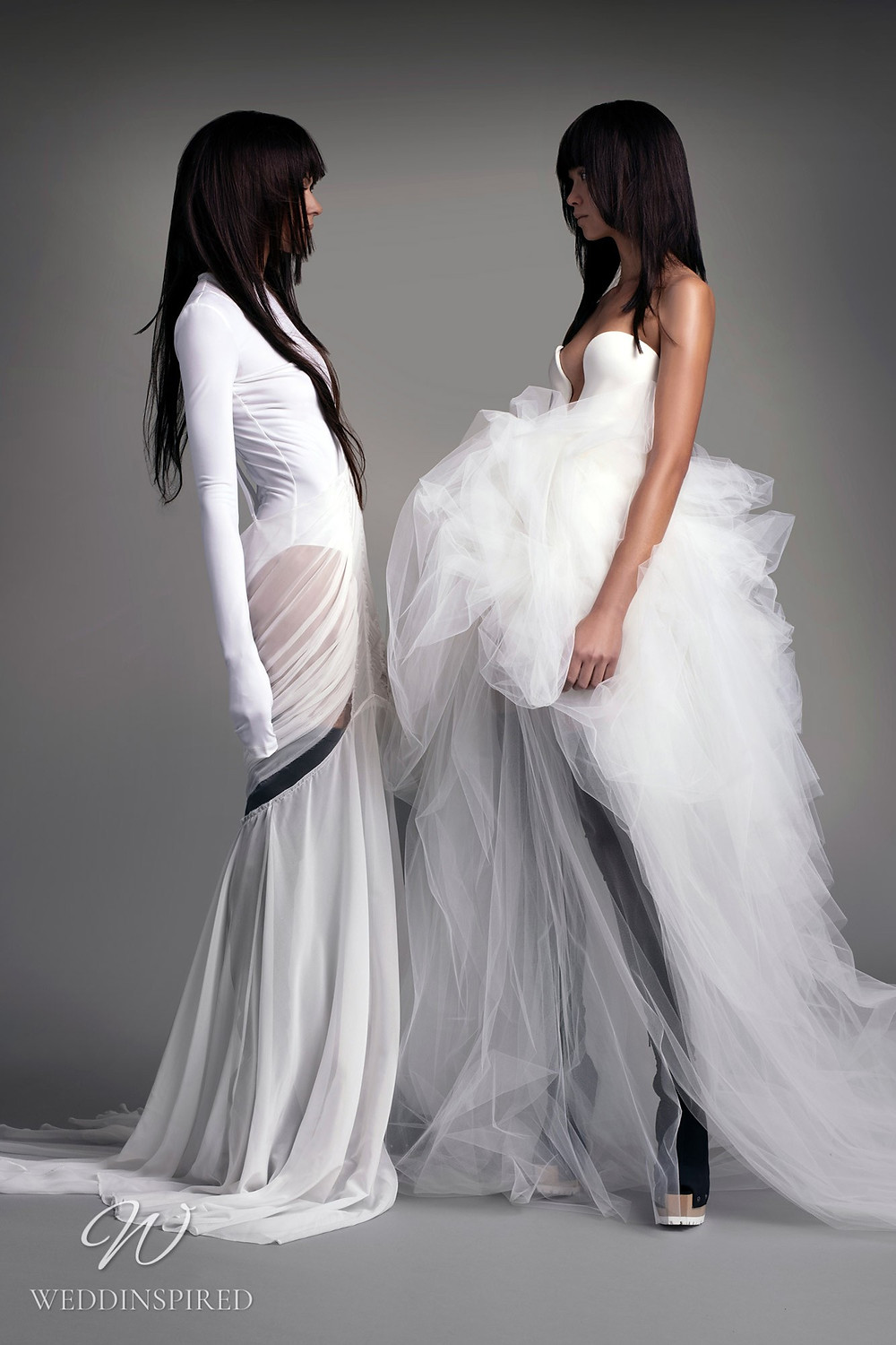 A Vera Wang Fall 2021 strapless tulle A-line wedding dress