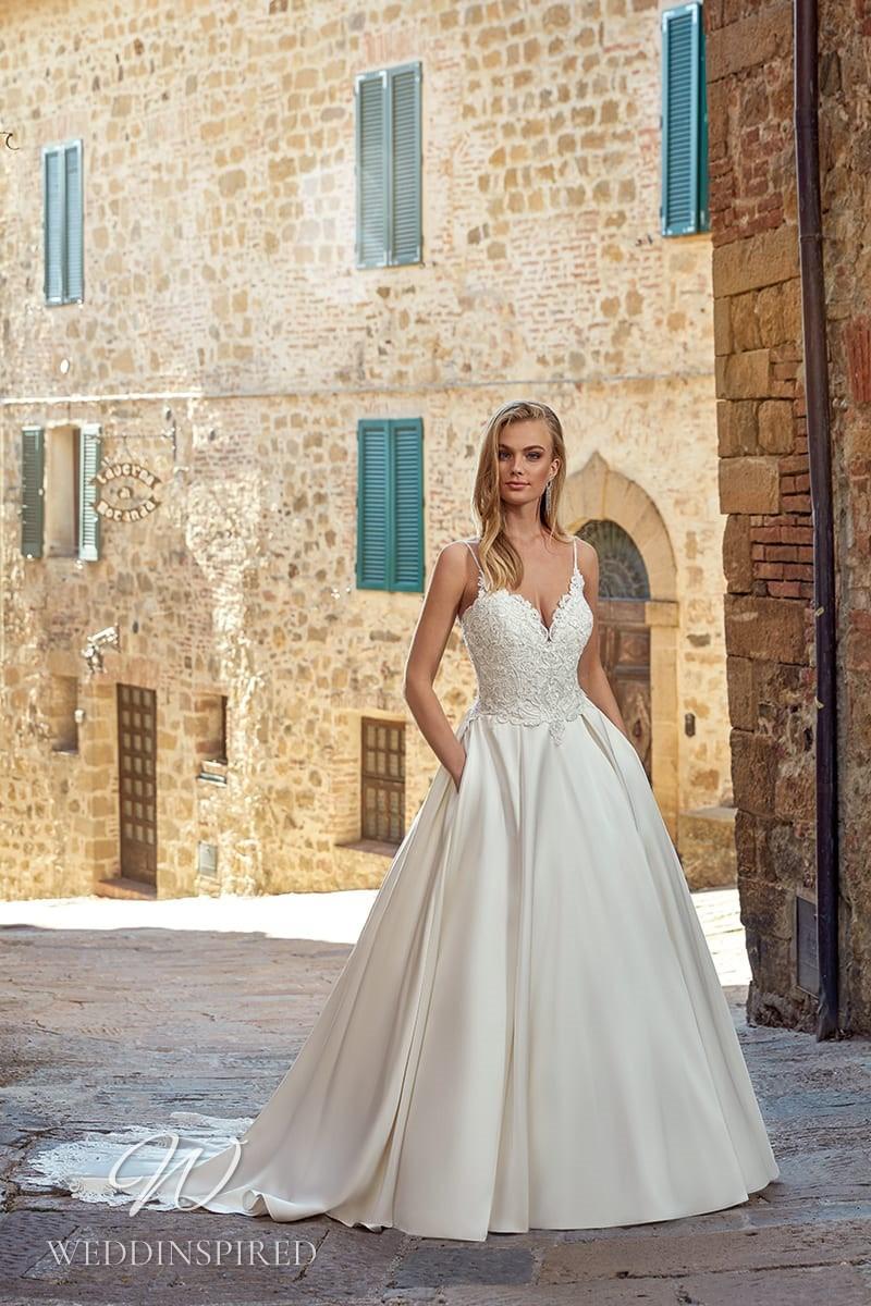 An Eddy K 2021 lace and satin princess ball gown wedding dress