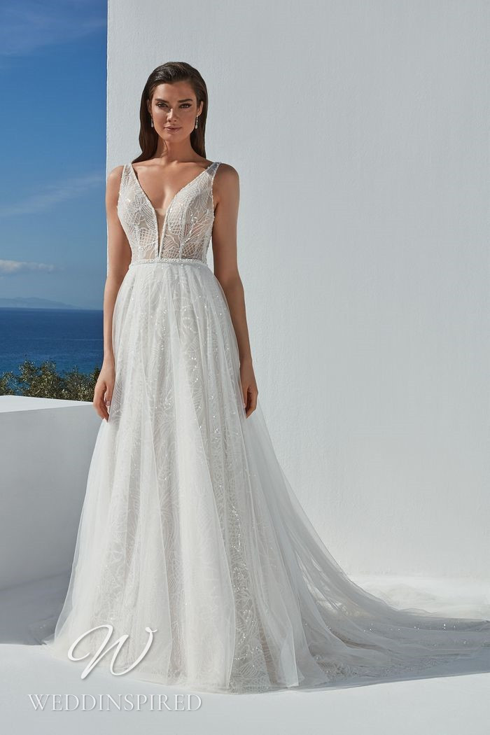A Justin Alexander 2021 tulle and lace sheath wedding dress