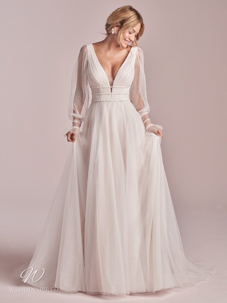 A Rebecca Ingram 2020 soft flowy chiffon A-line wedding dress with long sleeves