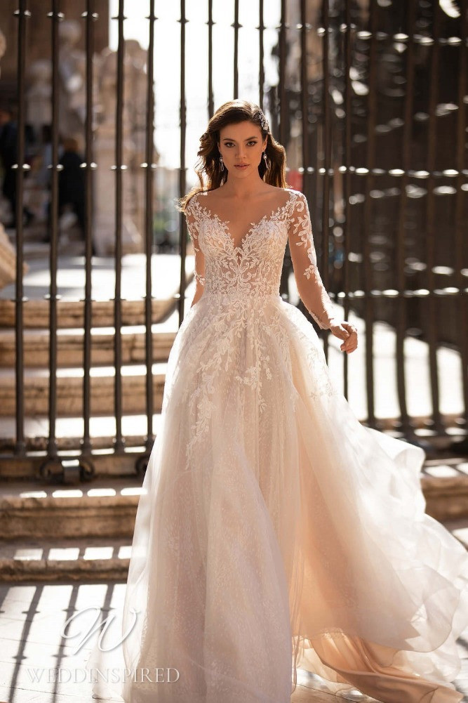 A Nora Naviano 2021 lace and tulle blush off the shoulder A-line wedding dress