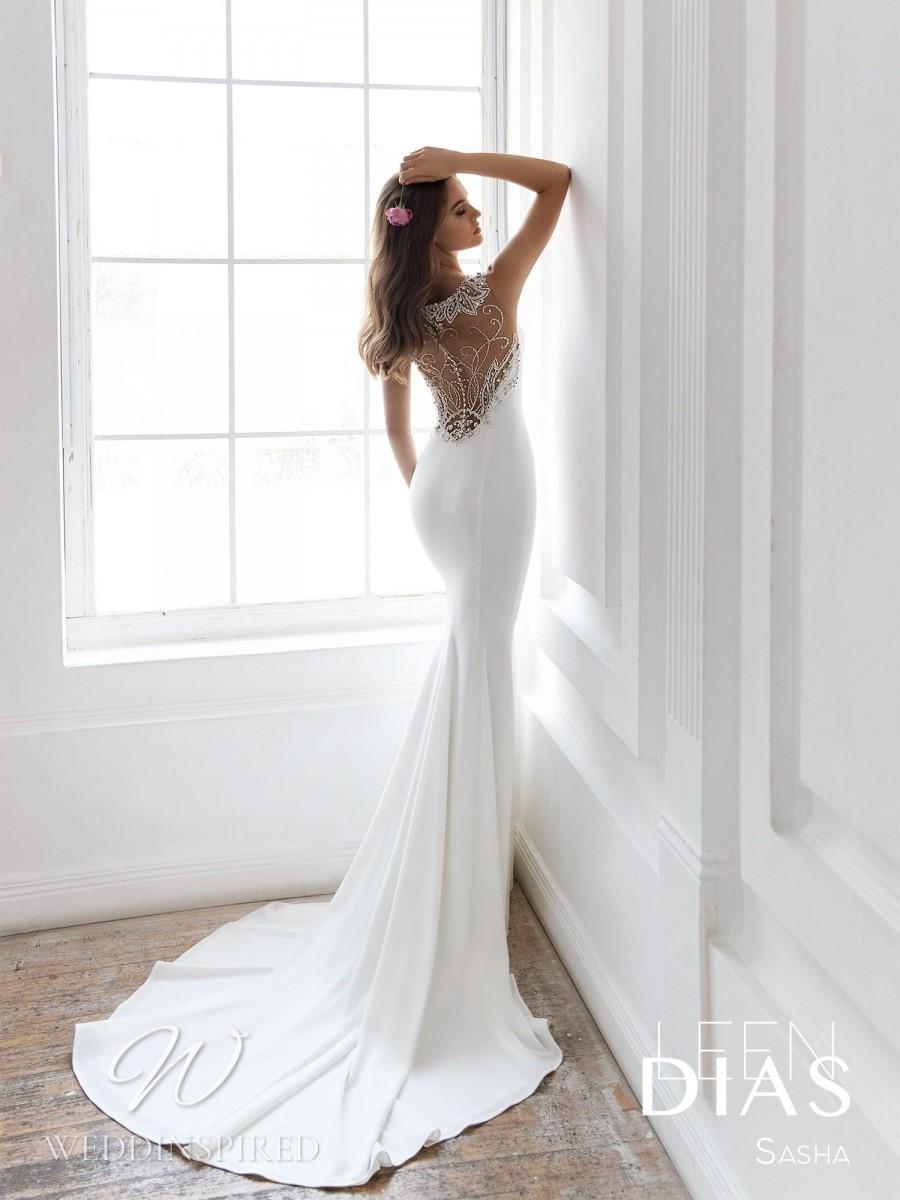 A Leen Dias 2021 backless satin mermaid wedding dress