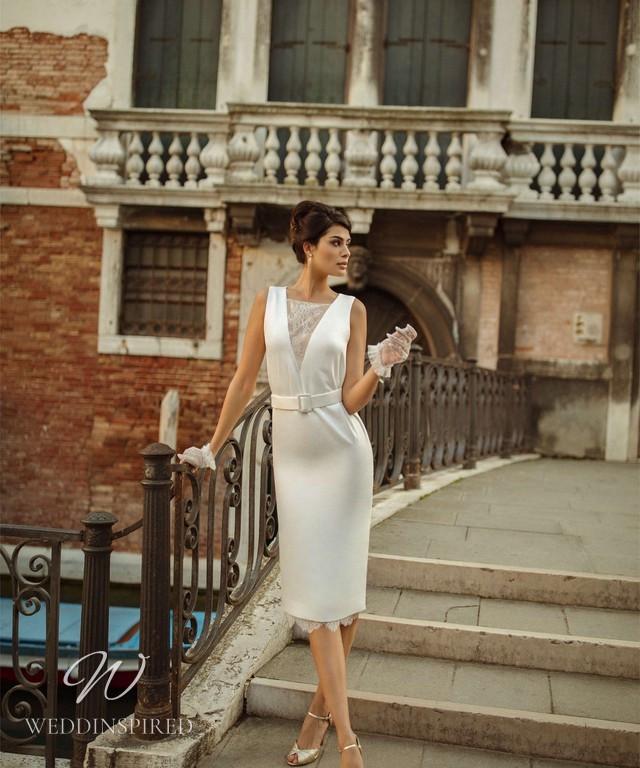 A Rara Avis 2021 vintage silk and lace tea length wedding dress