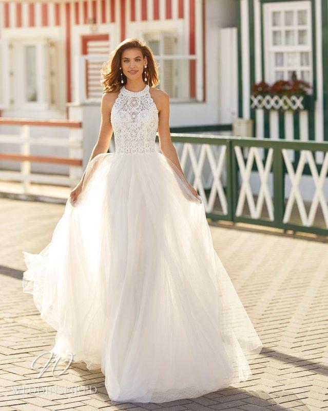 A Rosa Clara 2021 lace and chiffon halterneck A-line wedding dress