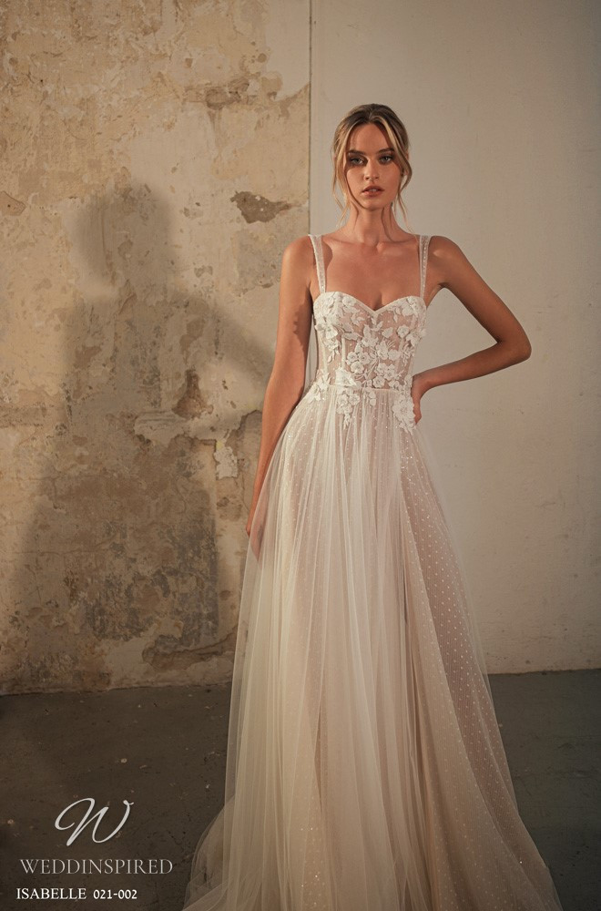 A Gali Karten 2021 nude lace and tulle A-line wedding dress with straps