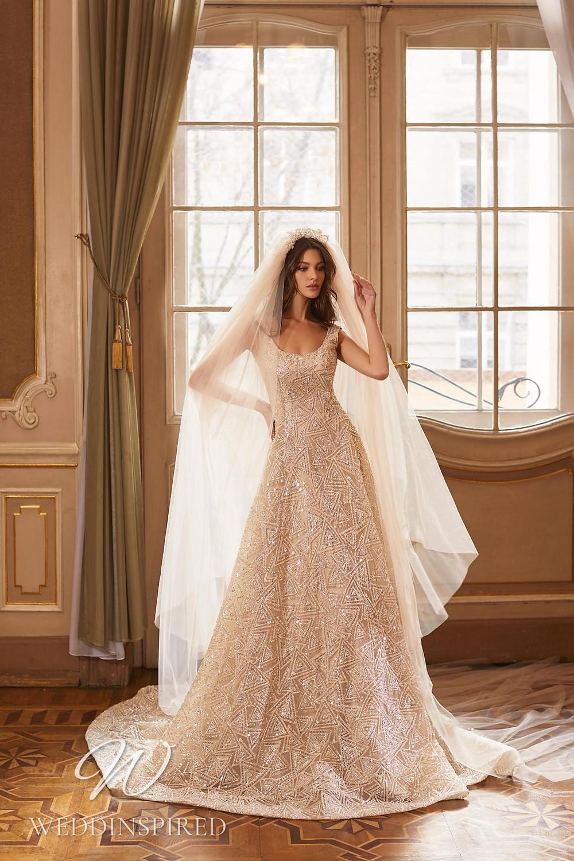 A Ricca Sposa 2022 blush beaded A-line wedding dress