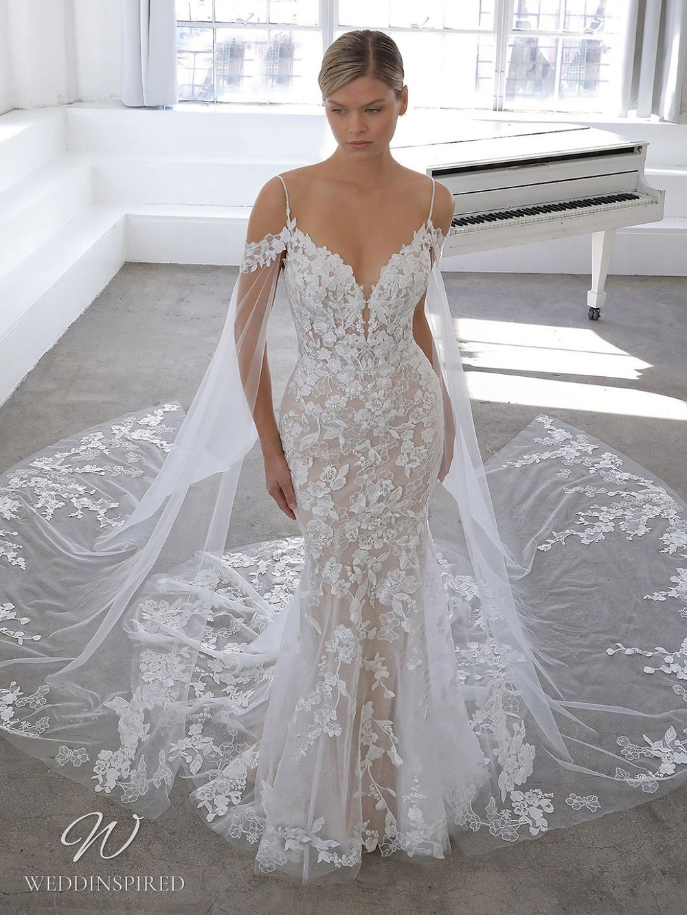 A Blue by Enzoani 2021 off the shoulder lace mermaid wedding dress with a v neck
