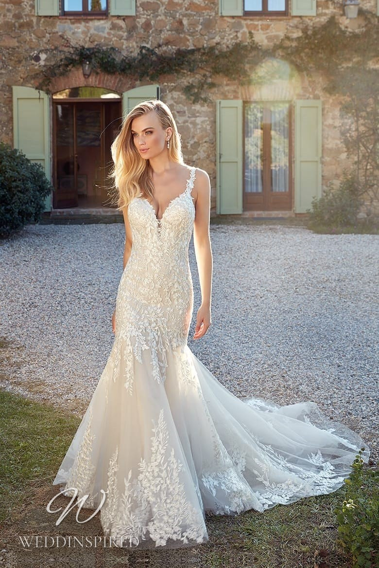 An Eddy K 2021 lace and tulle mermaid wedding dress
