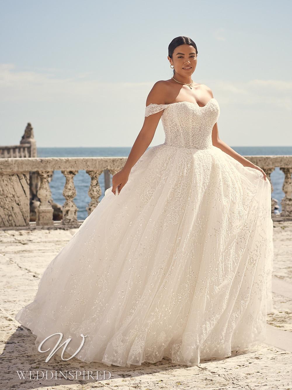A Sottero & Midgley 2021 plus size lace off the shoulder princess wedding dress