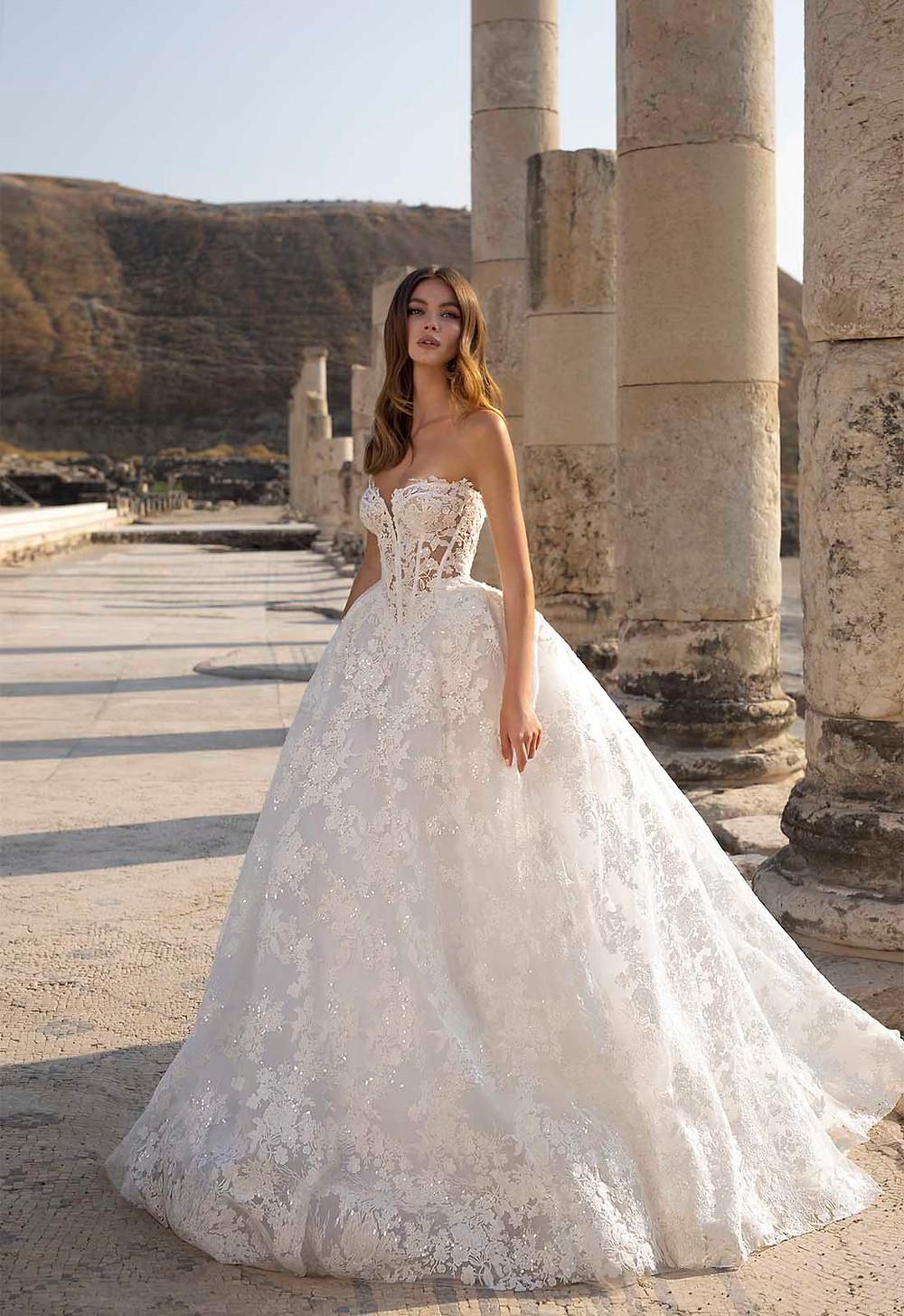 A Pnina Tornai strapless lace princess ball gown wedding dress