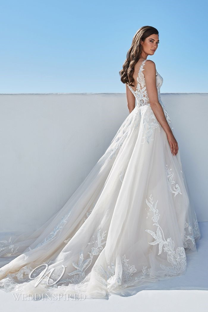 A Justin Alexander 2021 lace and tulle A-line wedding dress