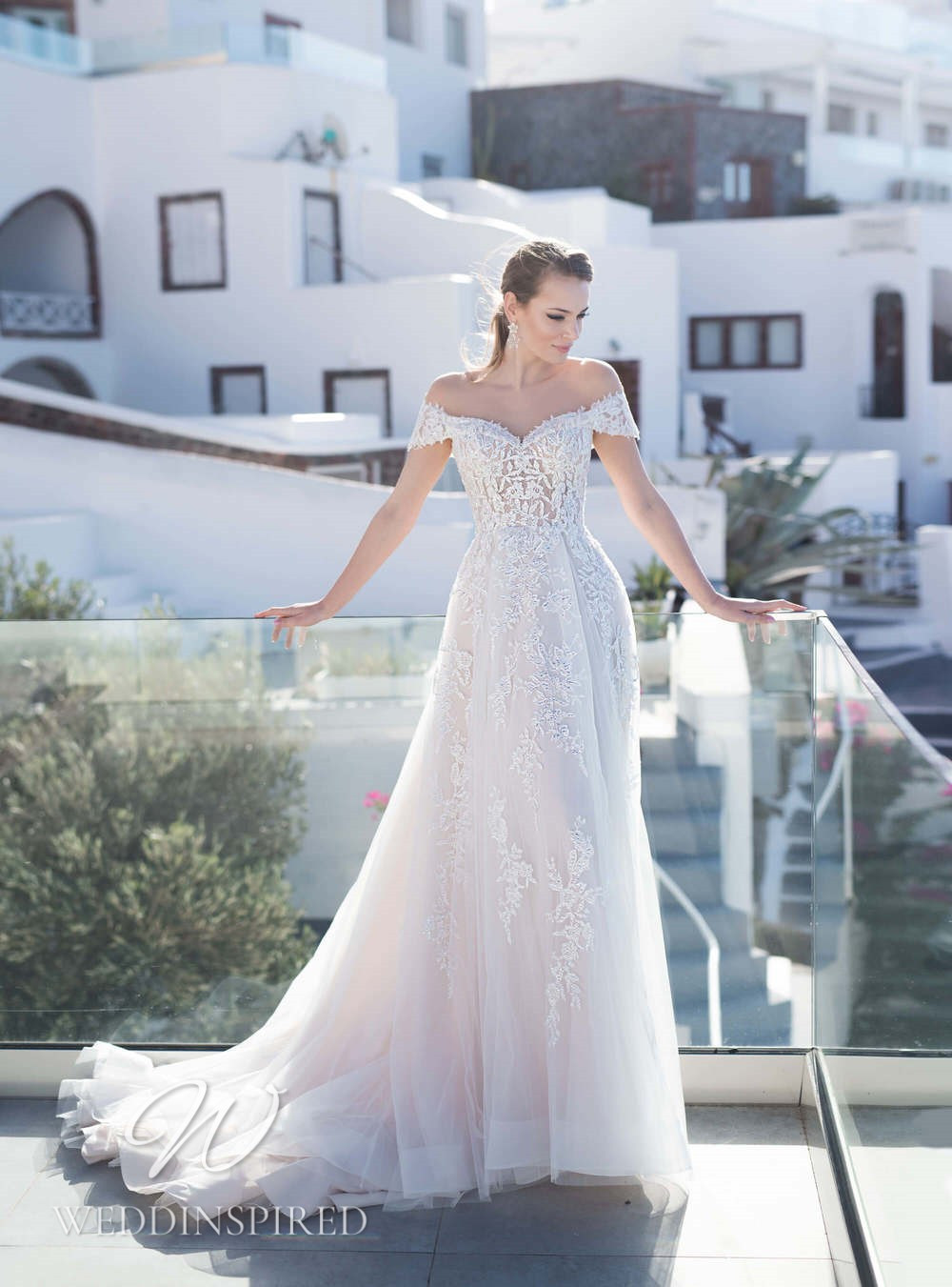 A Blunny 2021 lace off the shoulder A-line wedding dress