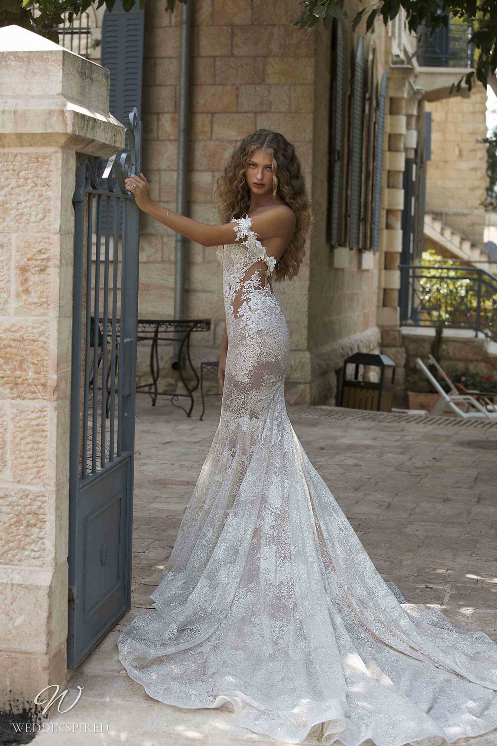 A Berta Colony 2021 lace off the shoulder mermaid wedding dress